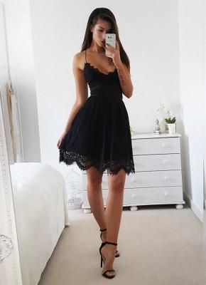Elegant Black Spaghetti Straps Homecoming Dress UK On Sale With Lace_1