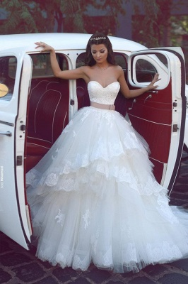 Elegant Sweetheart Tulle Cheap Appliques Wedding Dresses UK Ruffles Bridal ball Gowns with Sash_1