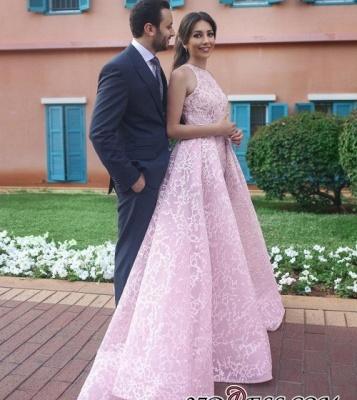 Halter Chic Sleeveless Long Pink Wedding Dress_1