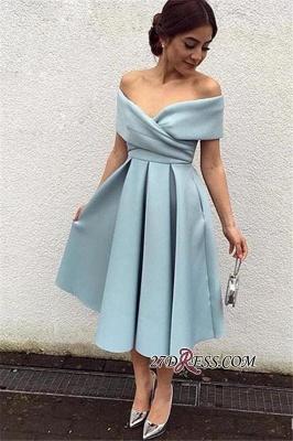 Satin Off-the-shoulder New Tea-Length Sexy Baby-Blue Evening Dress UKes UK BA3994_1
