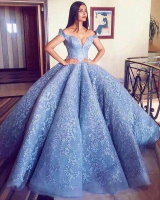 Gorgeous Off-the-Shoulder Ball Gown Evening Prom Dress UK With Lace Appliques BA8309_3
