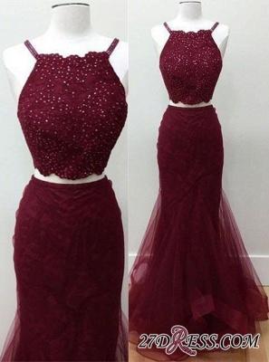 Two-piece Sleeveless Mermaid Spaghetti-strap Beads Elegant Prom Dress UK_2