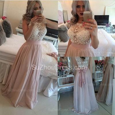 Gorgeous Scoop Sleeveless Pearls Evening Dress UK Long Chiffon BT0_2