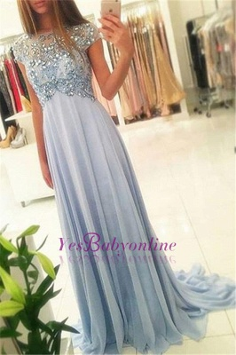Long Crystals Blue Beading Empire Sparkly Sexy Chiffon Cap-Sleeve Prom Dress UKes UK_2