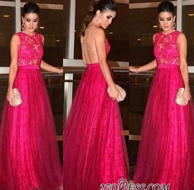 A-line Lace Newest Zipper Jewel Sleeveless Evening Dress UK_1