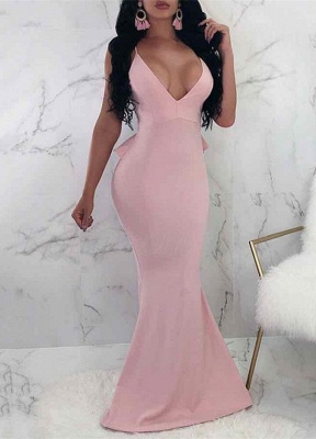 V-Neck Spaghetti Straps Prom Dress UK | Backless Ruffles Evening Gowns_1