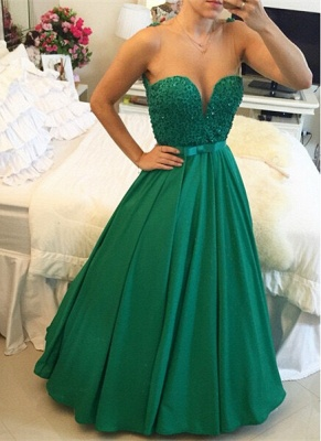 Luxury Sleeveless Evening Dress UK Beadings Sweetheart_1