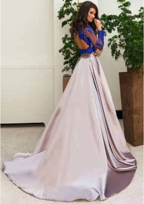 Luxury Two Piece Formal Dress UK Long Sleeve Lace Evening Dress UK_3