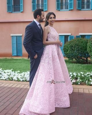 Halter Chic Sleeveless Long Pink Wedding Dress_2