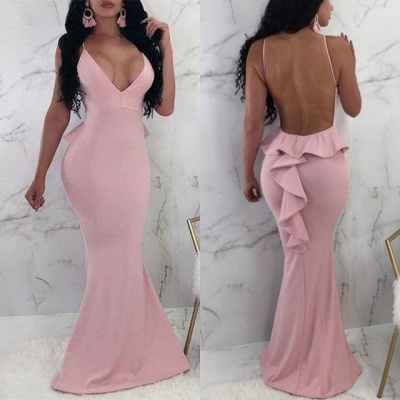 V-Neck Spaghetti Straps Prom Dress UK | Backless Ruffles Evening Gowns_3