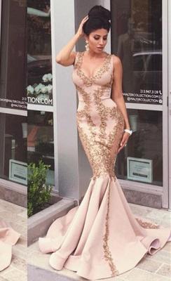 Elegant Sleeveless Mermaid Evening Dress UK Appliques Sweep Train_1