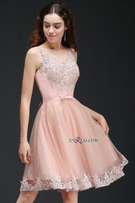 Sleeveless Sexy Short Tulle Lace Bowknot Homecoming Dress UK_5