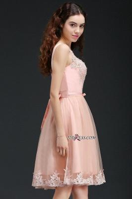 Sleeveless Sexy Short Tulle Lace Bowknot Homecoming Dress UK_3