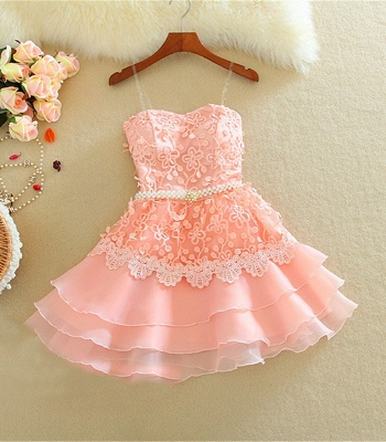 Lovely Sweetheart Mini Homecoming Dress UK Lace Appliques Layered_2