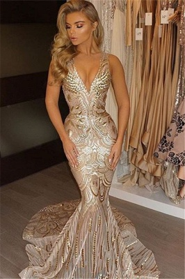 Luxury V-Neck Mermaid Sequins Prom Dress UK_2