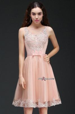 Sleeveless Sexy Short Tulle Lace Bowknot Homecoming Dress UK_2