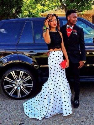Luxury Two Pieces Prom Dress UKes UK Black Lace Mermaid Dot_1