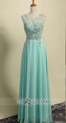 Sexy Illusion Sleeveless Chiffon Evening Dress UK Appliques Zipper Floor-length Prom Gown_1