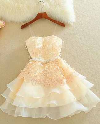 Lovely Sweetheart Mini Homecoming Dress UK Lace Appliques Layered_1