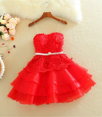 Lovely Sweetheart Mini Homecoming Dress UK Lace Appliques Layered_3