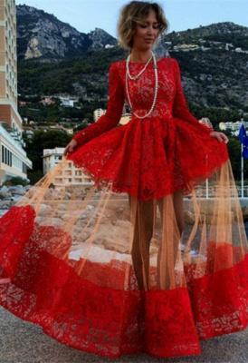 Elegant Bateau Long Sleeve Red Prom Dress UK With Lace BK0_2