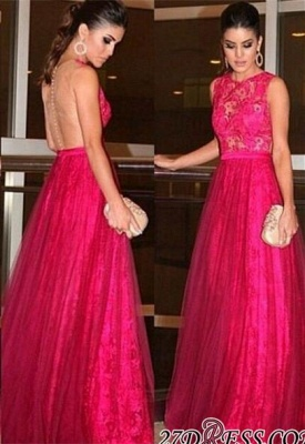 A-line Lace Newest Zipper Jewel Sleeveless Evening Dress UK_2