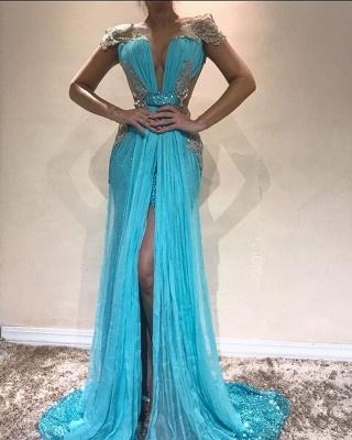 Sexy Blue Cap Sleeve Evening Dress UK | Sequins Slit Prom Dress UK_1
