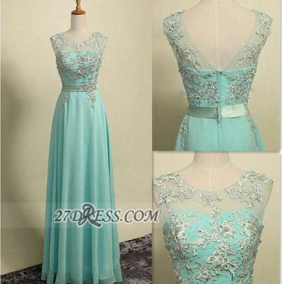 Sexy Illusion Sleeveless Chiffon Evening Dress UK Appliques Zipper Floor-length Prom Gown_2
