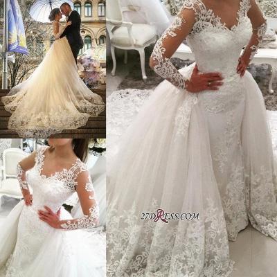 Tulle Long-Sleeves V-Neck Elegant Appliques Detachable-Skirt Wedding Dress BA4167_1