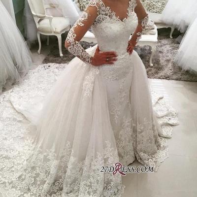 Tulle Long-Sleeves V-Neck Elegant Appliques Detachable-Skirt Wedding Dress BA4167_2