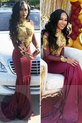 Burgundy long sleeve lace prom Dress UK, mermaid evening gowns BA4987_1