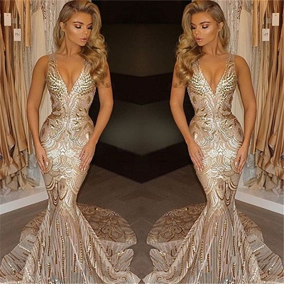 Luxury V-Neck Mermaid Sequins Prom Dress UK_3