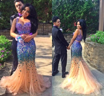Luxurious Two Pieces Prom Dress UKes UK Mermaid Tulle With Crystals_3