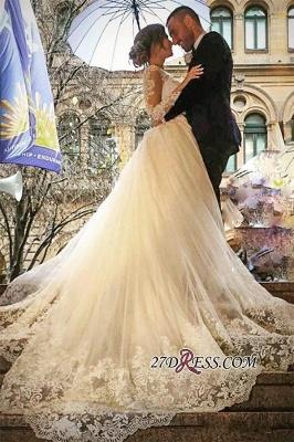 Tulle Long-Sleeves V-Neck Elegant Appliques Detachable-Skirt Wedding Dress BA4167_4