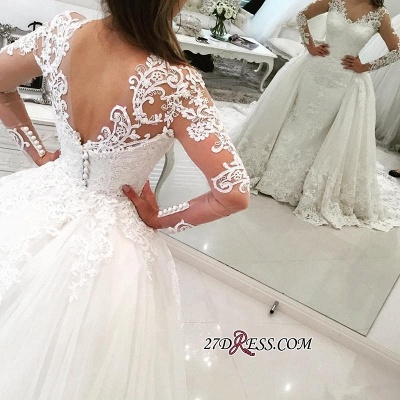 Tulle Long-Sleeves V-Neck Elegant Appliques Detachable-Skirt Wedding Dress BA4167_3