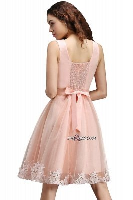 Sleeveless Sexy Short Tulle Lace Bowknot Homecoming Dress UK_4