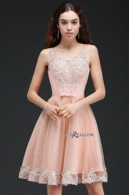 Sleeveless Sexy Short Tulle Lace Bowknot Homecoming Dress UK_6