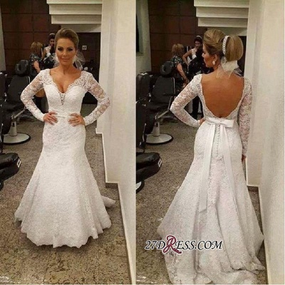 V-neck Sexy Mermaid Backless Long-sleeves Lace Sashes  Wedding Dress_1