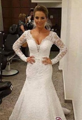 V-neck Sexy Mermaid Backless Long-sleeves Lace Sashes  Wedding Dress_2