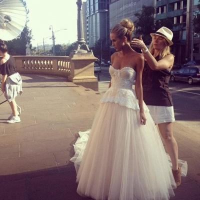 Gorgeous Tulle Sweetheart Wedding Dress Sleeveless Sweep Train_3