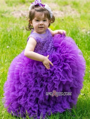 Floor-Length Lovely Lace Purple Ball-Gown Sleeveless Flower-Girl Dress_4