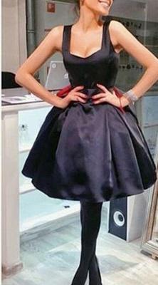 Short Square-Neck Vintage Bowknot Little-Black Dress UKes UK BA7582_2