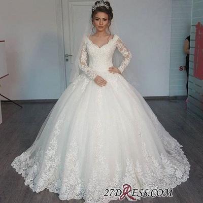 Tulle V-Neck Ball Elegant Lace Long-Sleeves Wedding Dress_1