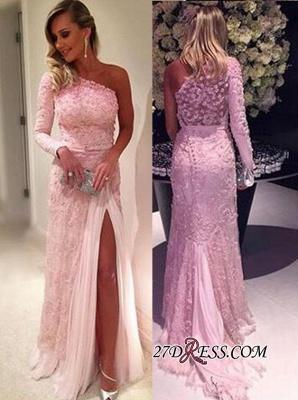 Sexy Pink Lace Long-Sleeve Split Evening Dress UKes UK_2