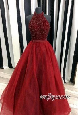 Modest A-line Tulle Halter Sleeveless Beads Prom Dress UK BA7661_2