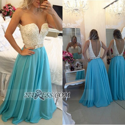 Gorgeous Sweetheart Pearls Beadings Prom Dress UK A-Line Chiffon Long Evening Party Gowns BT0_4