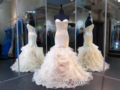 White Sweetheart Sleeveless Ruffles Mermaid Modest Lace-up Evening Dress UK_1