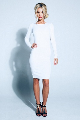 Sexy Backless Bowknot White Homecoming Dress UK Long Sleeve Short Prom Gown_2
