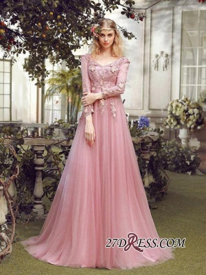 Long Sleeve Pink Evening Tulle   Prom Dress UK With Lace Appliques_3