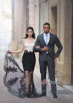 Mermaid White-Black Lace-Appliques Sheer Long-Sleeves Beading Prom Dress UKes UK_4